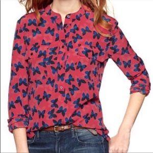 {Gap} popover blouse butterfly pattern